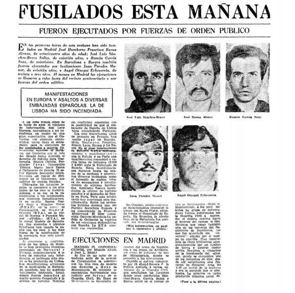 Portada del diario vespertino 'Informaciones' correspondiente al 27 de septiembre de 1975
